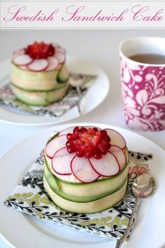 The title says Swedish sandwich cake although I have never seen a smörgåstårta like this one. Tea Recipes, Cooking Recipes, Sandwich Torte, Sandwich Recipes, Party Sandwiches, Good Food, Yummy Food, Swedish Recipes, Snacks