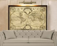 Giant Historic World Map 1720 Old Antique Style World Map Fine Art Print Old world map Wall Map Decor House warming gift
