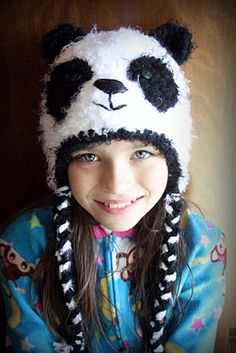 Fuzzy Panda Bear hat
