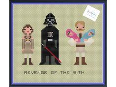 Star Wars Revenge of the Sith Characters Padmé Amidala, Darth Vader, Obi-Wan Kenobi, Luke and Leia Cross Stitch by knottybytes $4
