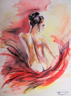Original nude painting,nude watercolor painting,woman back nude painting,woman watercolor,nude woman,naked woman,naked female,nude art