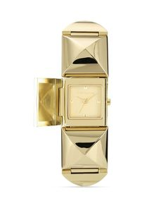 Vince Camuto Gold Tone Pyramid Cover Watch, 25mm