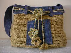 Horgolt táska, farmerrel