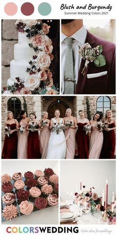 Blush + Burgundy Wedding: bridesmaid dresses, bridal bouquet, wedding cake with flowers, burgundy men's suit with boutonniere, table settings. burgundy wedding Best 8 Summer Wedding Color Combos for 2021 Burgundy And Blush Wedding, Blush Winter Wedding, Burgendy Wedding, Burgundy Flowers, Purple Wedding, Wedding Bridesmaid Dresses, Bouquet Wedding, Bridesmaid Flowers, Wedding Suits