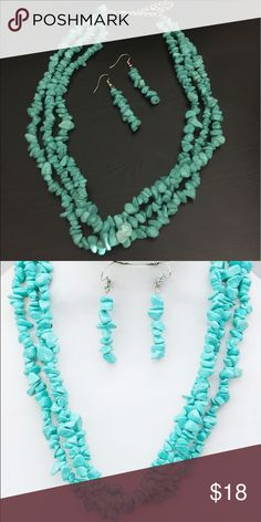 """Semi-Precious Turquoise Chip Necklace & Earrings This is a gorgeous layered reconstituted semi-precious Turquoise necklace w/ earrings. 16""""+extender.  #JEWELRY #POSHMARK #FASHION #DIVA #STYLE  #BLING #FASHIONISTA #COWGIRL #CITYGIRL #BEACHGIRL #WESTERN #CH"""