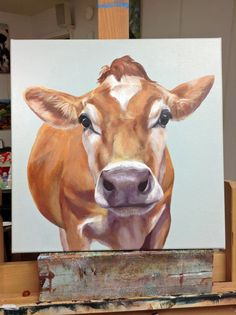 Just finishing new cow painting for a new gallery in Brattleboro, River Garden Art Gallery. This is Amelia, 16″x16″, a Jersey.