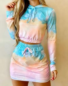 Cute Lazy Outfits, Crop Top Outfits, Girly Outfits, Stylish Outfits, Girls Fashion Clothes, Teen Fashion Outfits, Girl Fashion, Fashion Dresses, Peplum Dresses