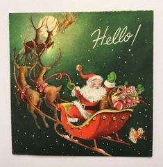 Hallmark Vintage Christmas Card Santa Sleigh Reindeer Toy Doll Candy Sky Snow Hi