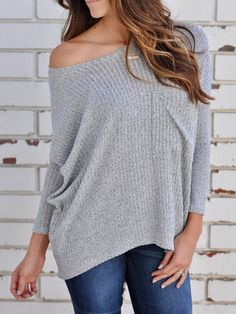 3063d353fd Sexy One Shoulder Knitted Sweater – ebuytide Grey Chests