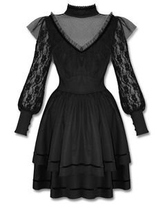 Spin Doctor Nevermore Dress Black Steampunk Goth VTG Lace Long Sleeve #SpinDoctor #Steampunk #Casual