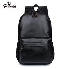 Franda Brand Unisex Preppy Style Leather School Backpack Bag For College Simple Design Men Casual Daypacks mochila male New