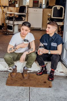 "Why Women Are Opting Out Of The Hair Salon #refinery29 http://www.refinery29.com/women-mens-barber-shop-haircuts#slide-5 ""Barbershops intentionally cultivate a culture of community — it's a really important ritual. It's not just a grooming ritual; it's social,"" says Rae Tutera (pictured left), the Handsome Feminist of social media fame, and focus of the Lena Dunham and Jenni Konner-pr..."
