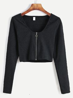 Black Zip Up Front Crop T-shirt