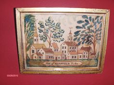 Primitive watercolor Townscape in early frame by Steve Shelton. (SOLD)