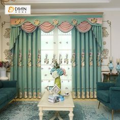 DIHIN HOME Exquisite Luxurious Embroidered Valance ,Blackout Curtains Grommet Window Curtain for Living Room Panel Window Curtains, Decor, Curtains Living Room, Curtains, Valance, Home, Curtain Designs, Grommet Curtains, Room