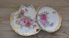 Vintage German porcelain plates.  Set of 2. Pink roses and gold leaf.  Shabby Chic.  Available @ jemsbyjennym.etsy.com