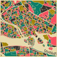 Stockholm Map - Jazzberry Blue