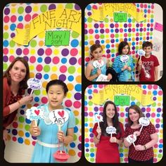 Photo booth for art reception Mrs. Knight's Smartest Artists: Best Fine Arts Night ever! Art Room Posters, Collaborative Art, Art Lessons Elementary, Spring Art, Art Programs, Expo, Art Classroom, Art Club, Art Festival