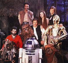 George Lucas and his creations from Star Wars Return Of The Jedi Star Wars Love, Star War 3, Star Wars Episode 6, Star Wars Cast, Lost Stars, Han And Leia, Star Wars Pictures, Mark Hamill, George Lucas
