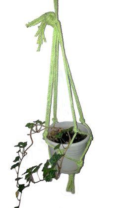 Neon Green Macrame Plant Hanger #green #plant #garden #indoors #handmade #diy