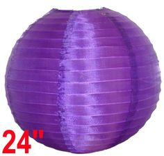 "Round Chinese Japanese Silk Lantern 24"" Purple  Diameter: 24""  Expanding with a metal frame  Bulb and cord are not included"