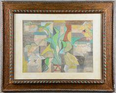 """ANDRE LHOTE (1885 - 1962) Escola Francesa - """"Vaso com Flores"""", guache sobre papel - 46 x 61 cm. Ass. Cerca de 1950. (Ver ilustração a cores no catálogo)."""