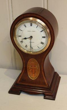 Edwardian Mahogany Waisted Balloon Clock (c. 1900 English)