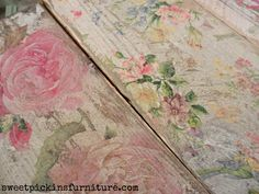 Tutorial: Napkins decoupaged  onto wood and sanded