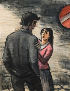 Frans Masereel Young Couple in the street 1970