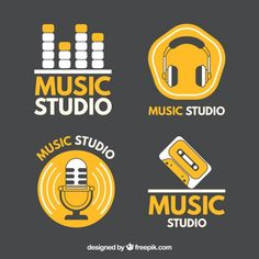 Logos for music studios Vector Radio Design, Home Music, Home Studio Music, Design Studio Office, Recording Studio Design, Monitor, Dj Equipment, Music Logo, Vector Free Download
