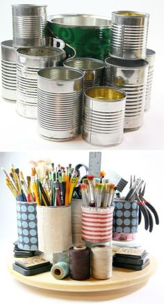 Tin Can Caddy, great for studio art room supplies organization.  Just look at how much stuff this DIY tin can art caddy can hold! It keeps everything organized and in view for easy access. Rest it on top of a lazy susan to make it even more handy.