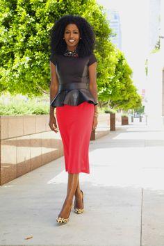 Style Pantry | Peplum Blouse + Peplum Belt + Midi Skirt