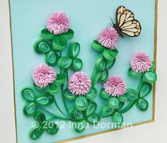 Paper filigree / paper quilling art: Clover flowers and butterfly. Framed with glass, OOAK
