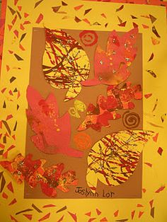 Great idea for fall, leaf project and could tie in Jackson Pollock!
