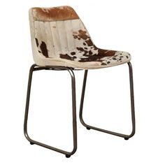 Vintage Cowhide Dining Room Chair With Range of Real Genuine Tan Leather in Black, Tan, Brown Dining Room Seats Retro Dining Chairs, Industrial Dining Chairs, Leather Dining Room Chairs, Fabric Dining Chairs, Modern Chairs, Leather Chairs, Cowhide Furniture, Cowhide Chair, Outdoor Furniture Chairs