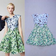 Free Shipping 2014 Stunning Vintage Digital Printing Silk Long Dress 140509BU03 $71.00