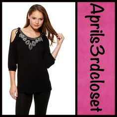 """Black Boho Tunic Embellished Boho Black Tunic Embellished    New With Tags   * Double scoop neckline * 3/4 length blouson sleeves w/banded cuffs * Embellished & beaded bodice, absolutely beautiful  * Relaxed fit & pullover style * Subtly oversized fit * About 29"""" long, tunic length * 93% rayon & 7% spandex, lightweight, super soft & stretch-to-fit fabric * Color: Black  No Trades ✅ Offers Considered*/Bundle Discounts✅ *Please use the blue 'offer' button to submit an offer. Joyous & Free Tops…"""