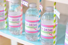 Gymnastics themed birthday party water bottle labels & more from @karaspartyideas #gymnasticsparty #gymnastics #waterbottlelabels