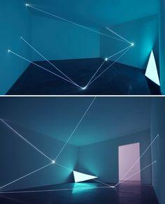 Fibre optic light sculpture installation by Carlo Bernardini