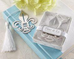 Fleur-de-Lis Metal Bookmark with Elegant White-Silk Tassel  http://favorcouture.theaspenshops.com/images/Product/14057NA_Fleurdelis_Bookmark_M.jpg