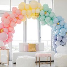 """The Original Party Bag Company on Instagram: """"Here will be just fine, Thankyou ! 🌈💕#undertherainbow #balloongarland #prettyasapicture #partytime @topitoffdesigns #partystyle #OPBCo 💫"""""""