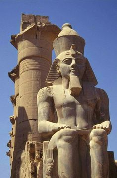 Ancient Egypt: Statue of Ramses II at the entrance to the Luxor Temple in Egypt. Ancient Egypt History, Ancient Egyptian Art, Egyptian Mythology, Egyptian Symbols, Egyptian Goddess, Ancient Aliens, Ancient Greece, Ramses, Amenhotep Iii
