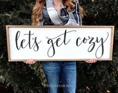 wood Frame Sign Wall Art lets get cozy sign framed wood sign rustic wall decor framed sign quo Bedroom Signs, Wood Bedroom, Home Decor Bedroom, Wood Headboard, Master Bedroom, Bedroom Quotes, Headboards, Diy Bedroom, Farmhouse Wall Decor