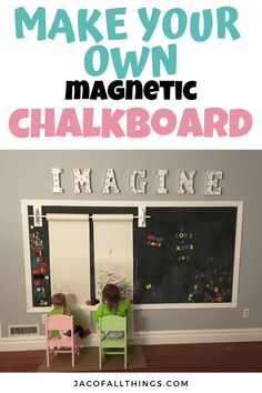 Everything you need to know to make your own DIY magnetic chalkboard wall! This is perfect for playrooms and is SO easy to make! Read on for complete directions on how we created this inexpensive chalkboard for the kids. Chalkboard Wall Playroom, Playroom Wall Decor, Playroom Storage, Diy Wall Decor, Home Decor, Magnetic Chalkboard Walls, Chalkboard For Kids, Chalkboard Decor, Playroom Ideas