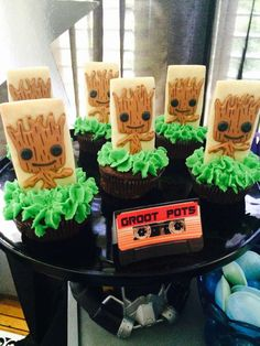 Groot pots at a Guardians Of The Galaxy birthday party! See more party ideas at CatchMyParty.com!