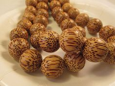 Wood Beads Natural Palm Wood Tan 20mm Large Round  by FLcowgirls