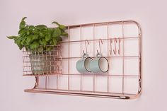 Present Time - Wandrek Open Grid - Koper Kitchen Rack, Furniture Gifts, Home Accessories, Kitchen, Kitchen Storage Rack, Shelves, Copper Kitchen, Kitchen Hooks, Furniture Decor