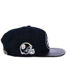 Pro Standard Pittsburgh Steelers Black and White Strapback Cap - Black Adjustable