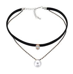 Statement Pearl Pendant Solitaire CZ Diamond Choker Double Layer Velvet Leather Necklace For Women -- Awesome products selected by Anna Churchill
