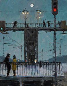 Cityscape, by Evgeny Petrovich Bitkin, 1961 Landscape Drawings, Watercolor Landscape, Nocturne, Art And Illustration, Painting Inspiration, Art Inspo, Memes Arte, Urbane Kunst, Soviet Art